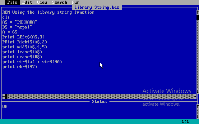 Library Function in Qbasic